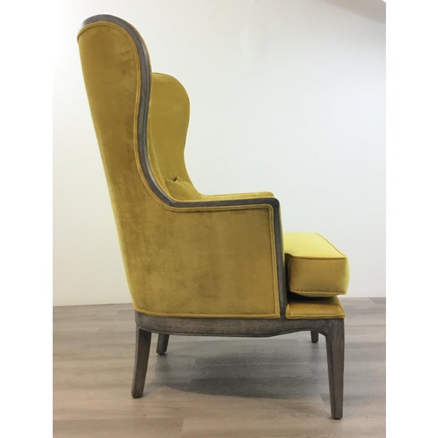 Modern Chartreuse Velvet Wingback Chair For Sale - Image 4 of 6