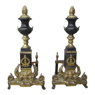 French Antique Brass & Marble Andirons - A Pair
