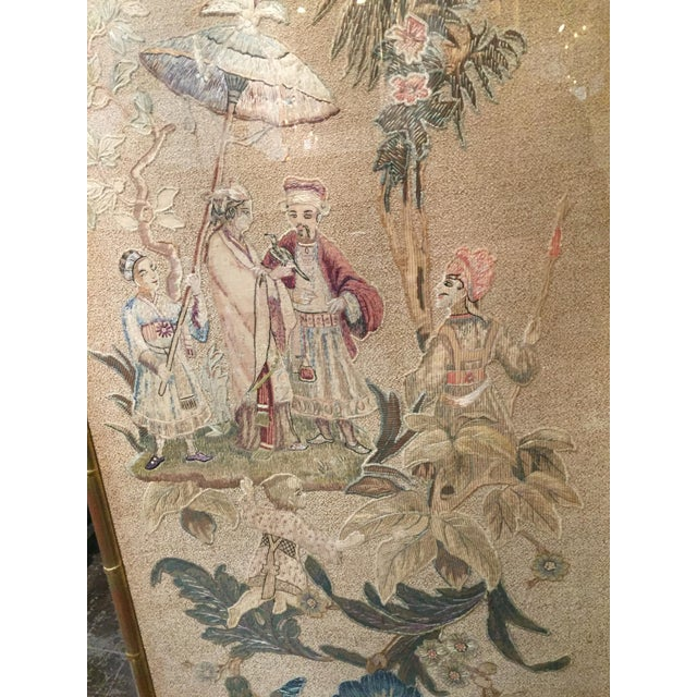 Set of 3 English Silk Embroideries in Gilt Frame For Sale In Dallas - Image 6 of 9