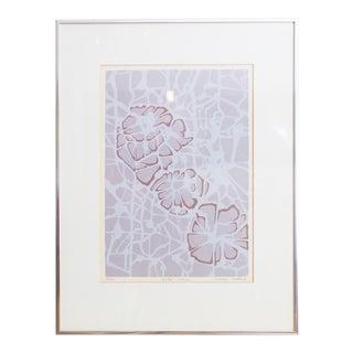 Batik Style Art Print | Purple Water Lilies by Carolyn Shattuck For Sale