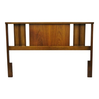 Vintage Mid Century Modern Walnut Full Size Modernist Headboard For Sale