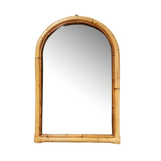 1950s Single-Strand Arched Rattan Mirror For Sale