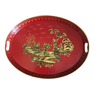 Large Vintage Chelsea House Style Chinese Red and Gold Gilt Chinoiserie Tole Tray With Handles For Sale