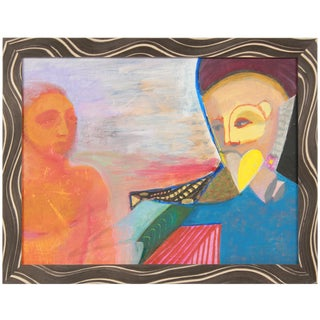 Michael DI Cosola Colorful Surrealist Figures in Oil With Blue, Orange & Red, October 10, 1995 For Sale