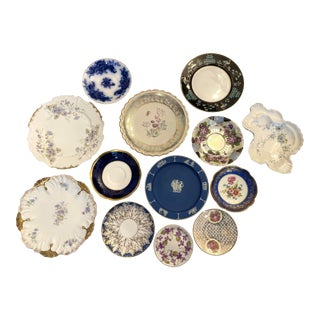 Blue and Purple Mixed Decorative Plates- Set of 13 For Sale