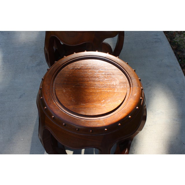 Vintage Asian Rosewood Drum Stools - A Pair - Image 10 of 11