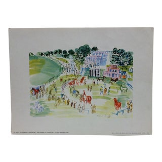 """Le Paddock a Longchamp Galerie Petrides"" Paris French Print by Duffy For Sale"