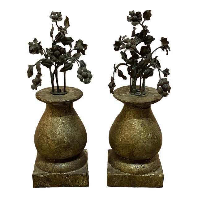 19th Century Finials With Iron Decoration - a Pair For Sale