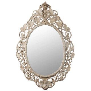 Large Beveled Oval Mirror with Carved Grape Vines For Sale