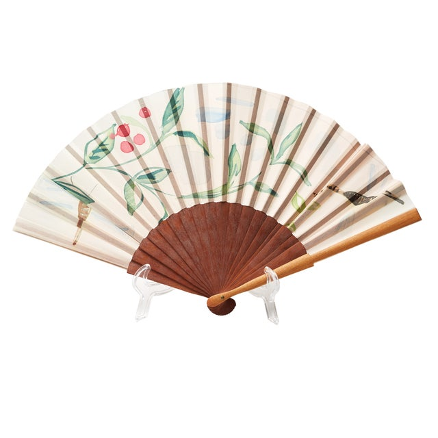 Paper and wood fan with floral motif. Made in Mallorca, Spain.