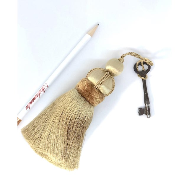 Gold Key Tassels With Cut Velvet Ruche- a Pair For Sale - Image 10 of 11