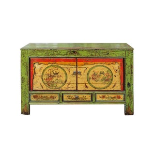 Chinese Distressed Green Flower Graphic Credenza Console Cabinet For Sale