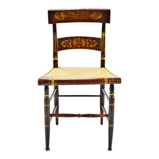 Antique Hitchcock Style Rush Seat Side Chair For Sale