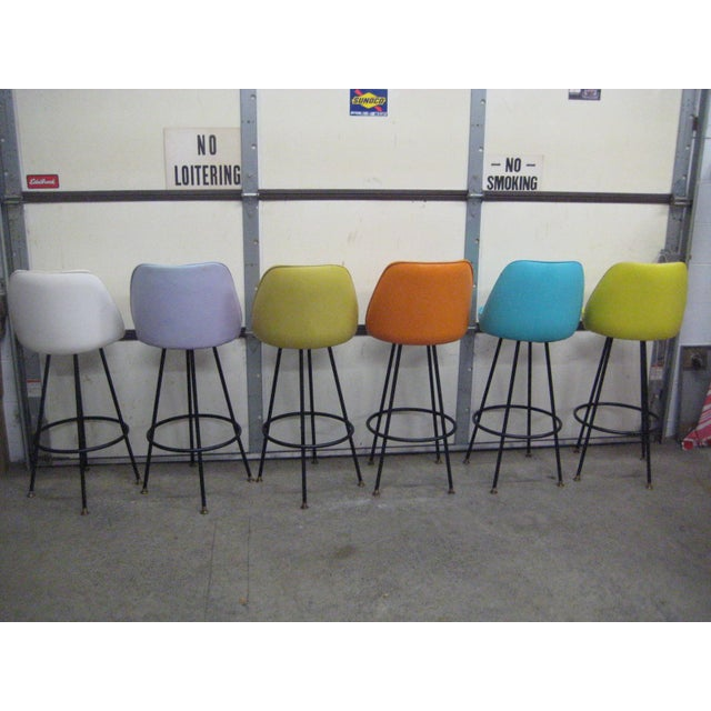 Vintage Mid Century Atomic Bar Stools - Set of 6 - Image 3 of 11