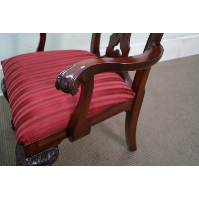 Maitland Smith Mahogany Chippendale Arm Chairs - 2 - Image 9 of 10