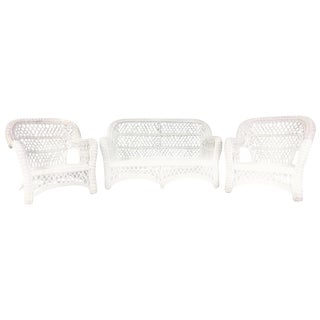 Restored Antique Bar Harbor Three-Piece Wicker Set