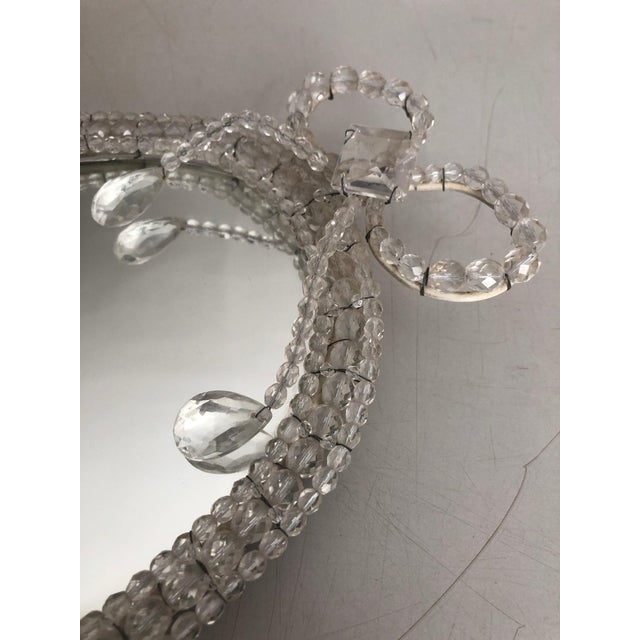 Shabby Chic Antique Mirrored Wall Sconces, Hand-Beaded, Crystal Details on Frame - a Pair For Sale - Image 3 of 6