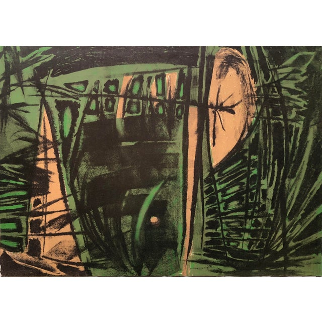 1940s Jerry Opper Mid Century Bay Area Abstract Expressionism in Greens For Sale - Image 5 of 5