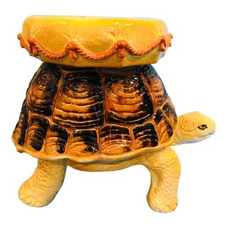 1960s Hollywood Regency Terra Cotta Tortoise Garden Stool