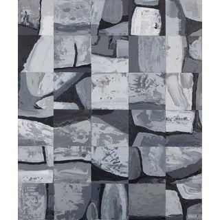 "Denmark Acrylic Painting ""Megalith 14"", Contemporary Large Gray Abstract For Sale"