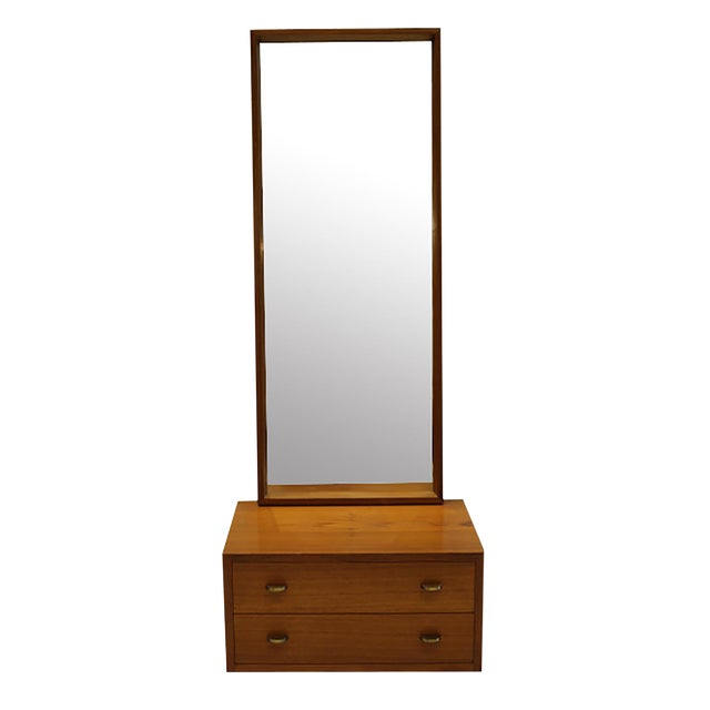 Mid-Century Teak/Brass Cabinet and Mirror by Torbjorn Afdal for Bruksbo C. 1960 For Sale
