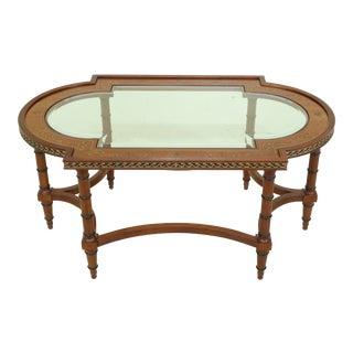 John Widdicomb Regency Style Glass Top Coffee Table For Sale