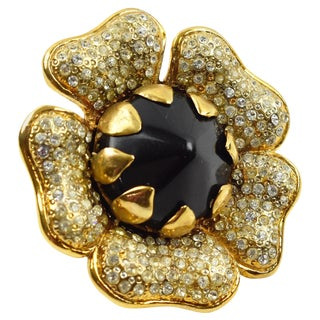 Valentino Signed Jewel Paved and Black Resin Floral Pin Brooch For Sale