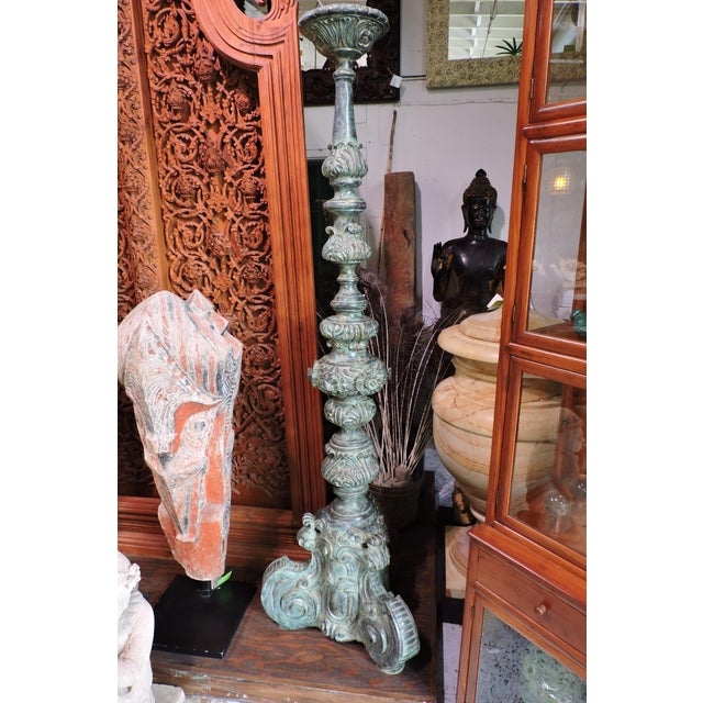 Tall Bronze Candle Holde For Sale In San Francisco - Image 6 of 6