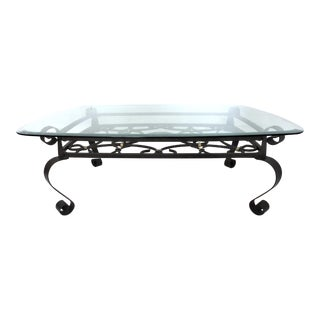 Vintage Black and Gold Link Forged Wrought Iron Rectangular Coffee Table, Giacometti in Style For Sale