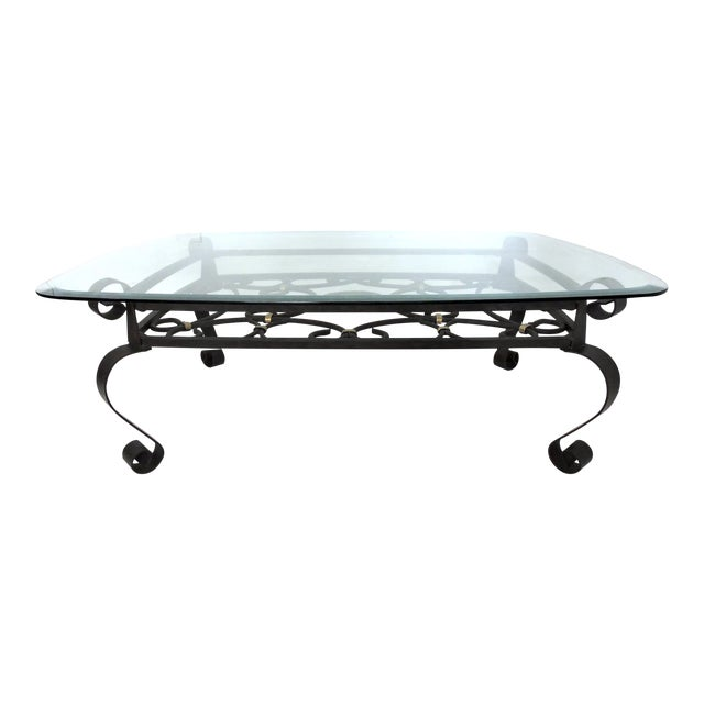 Vintage Black and Gold Wrought Iron Rectangular 'Scroll' Coffee Table For Sale