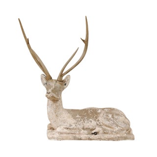 French Early 20th Century Cast-Stone Deer Sculpture For Sale
