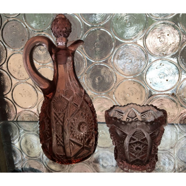 Vintage l.e. Smith Moon & Star Pink Cut Glass Decanter and Drinking Cup - a Pair For Sale In Los Angeles - Image 6 of 6