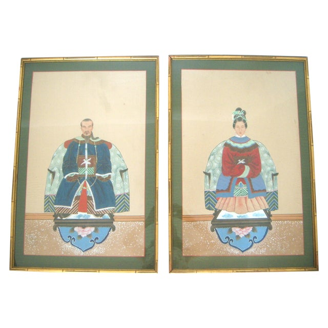 Fine Chinese Ancestor Portrait Paintings - Pair - Image 1 of 9
