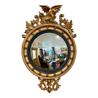 Antique Carved Gold Giltwood Convex Mirror With Winged Dragon For Sale