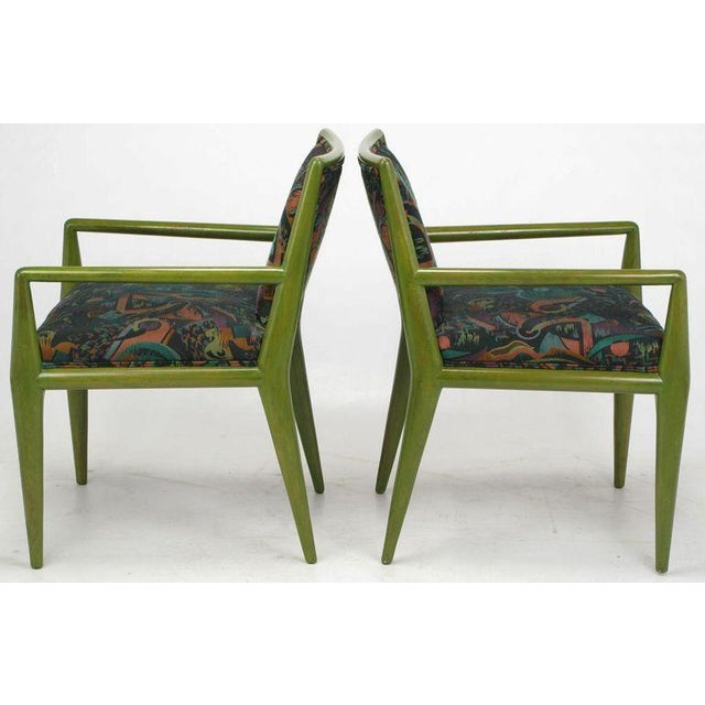 Four T.H. Robsjohn-Gibbings Moss Green Walnut Arm Chairs For Sale In Chicago - Image 6 of 10