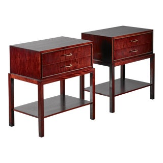 Ernst Kühn pair of mahogany nightstands, Denmark, 1930s