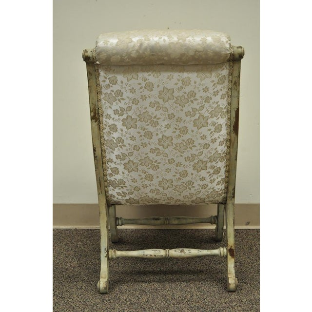 Antique Small Victorian Tufted Carved Wood Distress Painted Slipper Accent Chair - Image 9 of 11