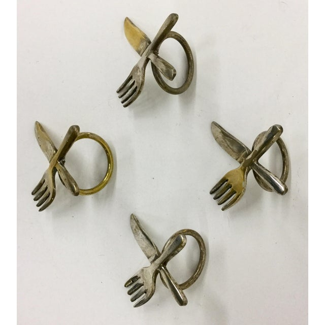 Vintage Brass Plate Napkin Rings - Set of 4 For Sale - Image 5 of 6