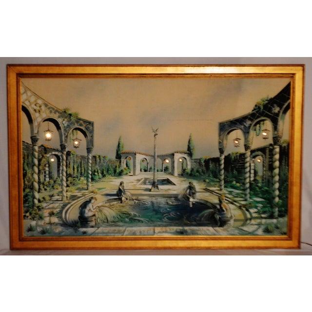 Vintage Signed Illuminated Giclee Painting on Panel - Image 5 of 9