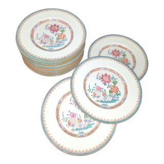1920s Minton England Floral Small Plates With Aqua Borders- Set of 12 For Sale