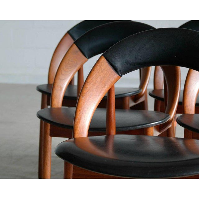 Mid-Century Modern Very Rare Set of Six Dining Chairs by Arne Hovmand Olsen For Sale - Image 3 of 10