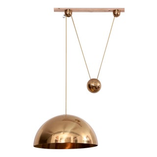 Rare Florian Schulz Solan Counterweight Lamp, Germany, 1982 in Brass For Sale