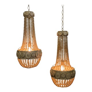 Hollywood Regency Beaded Pendant Chandeliers -A Pair For Sale