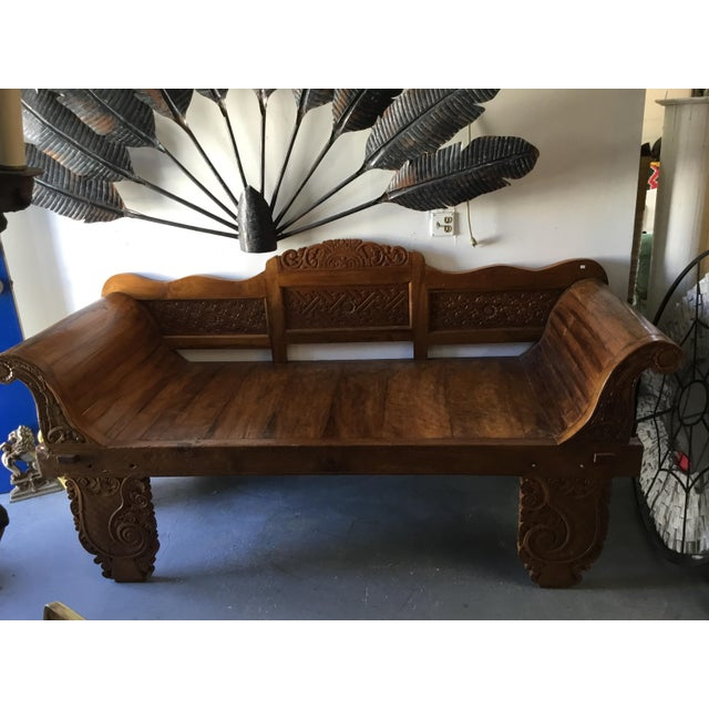 Asian Balinese Teak Day Bench For Sale - Image 3 of 6