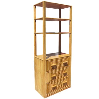 Restored Mid-Century Rattan and Mahogany Display Cabinet With Drawers For Sale
