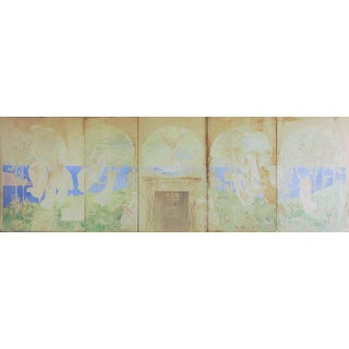 Distressed 1880's Neoclassical Mural Study Painting For Sale