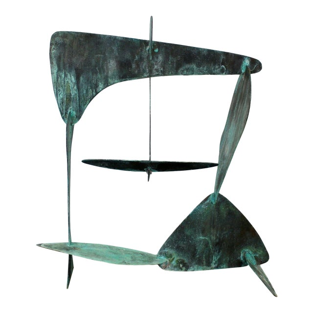 Mid Century Modern Brutalist Copper Metal Abstract Table Sculpture 1970s For Sale