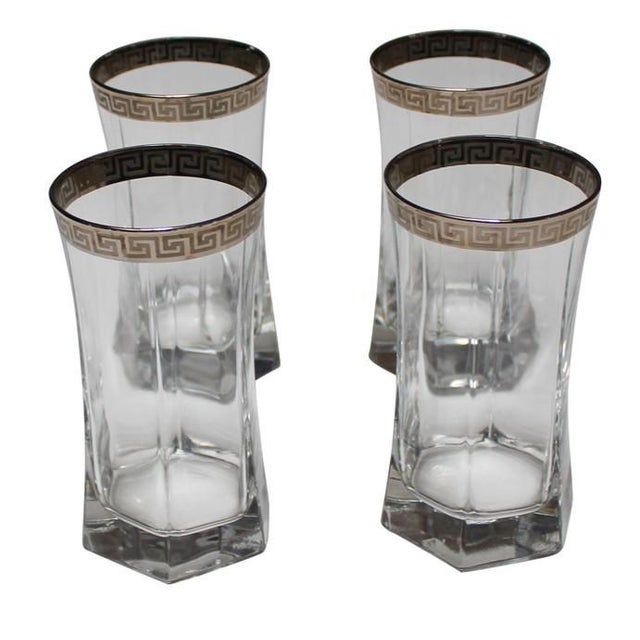 Silver Greek Key Tumblers - Set of 4 For Sale