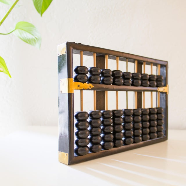 Black Lacquer And Brass Abacus Peoples Republic Of China 1920s