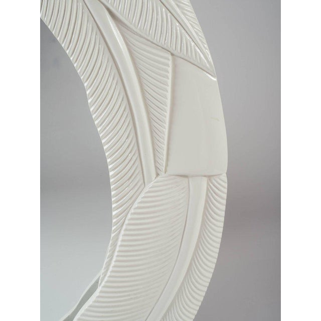 Art Deco Cream Lacquered Mirror with Banana Leaf Design - Image 3 of 7